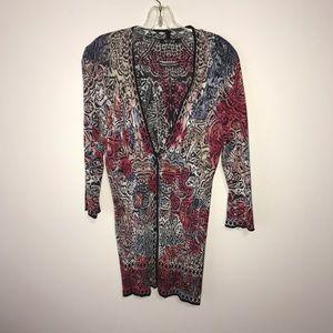 Nic + Zoe Tunic Length Button Front Cardigan